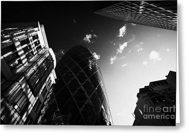 Swiss Greeting Cards - The swiss re gherkin building at 30 St Mary Axe city of London England UK United kingdom Greeting Card by Joe Fox