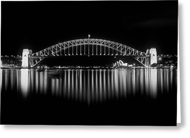 Joannes Greeting Cards - The Sydney Harbor Bridge at night Greeting Card by Thomas Joannes