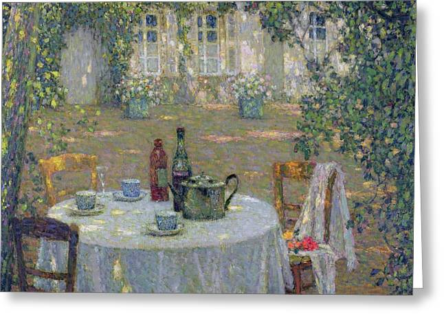 Table Greeting Cards - The Table in the Sun in the Garden Greeting Card by Henri Le Sidaner