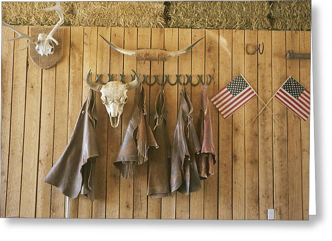Colorado Cowgirl Greeting Cards - The Tack Room At Saddleback Ranch Greeting Card by Taylor S. Kennedy