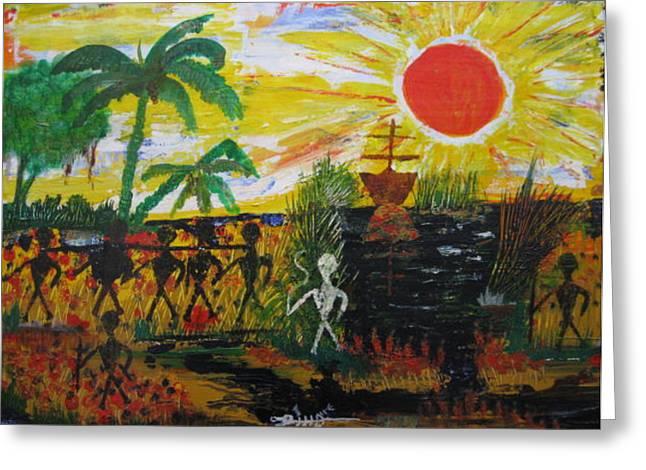 Slavery Paintings Greeting Cards - The Taken Greeting Card by Antonio Raul