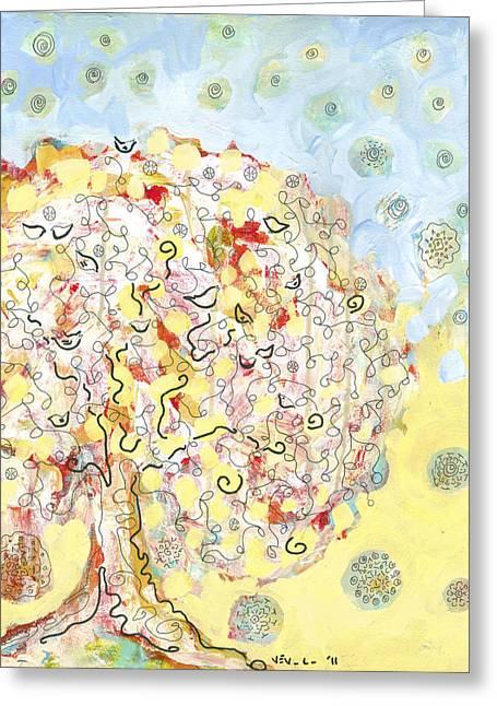 Modern Drawings Greeting Cards - The Talking Tree Greeting Card by Jennifer Lommers