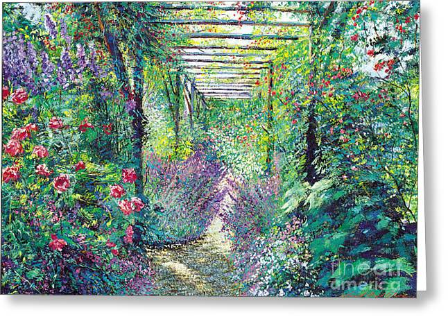 Trellis Paintings Greeting Cards - The Tangled Trellis Greeting Card by David Lloyd Glover