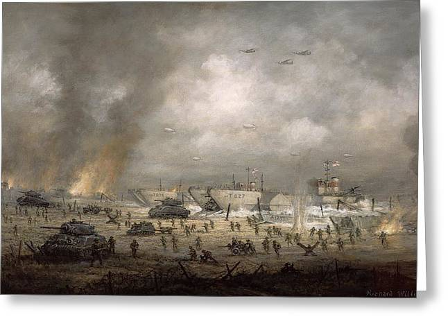 Invasion Greeting Cards - The Tanks Go In - Sword Beach  Greeting Card by Richard Willis