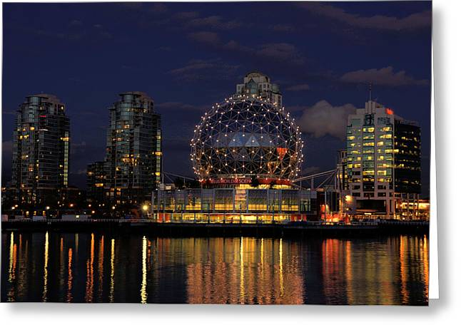 THE TELUS SCIENCE CENTER AT NIGHT Greeting Card by LAWRENCE CHRISTOPHER
