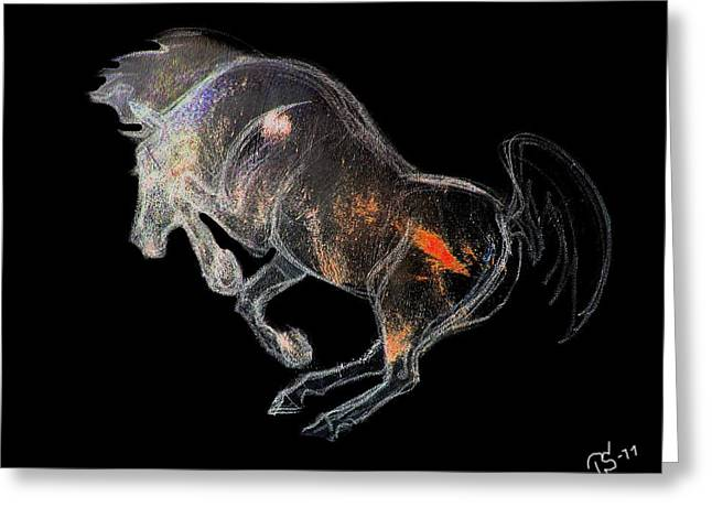 Horse Images Mixed Media Greeting Cards - The Tempest 1 Greeting Card by Tarja Stegars