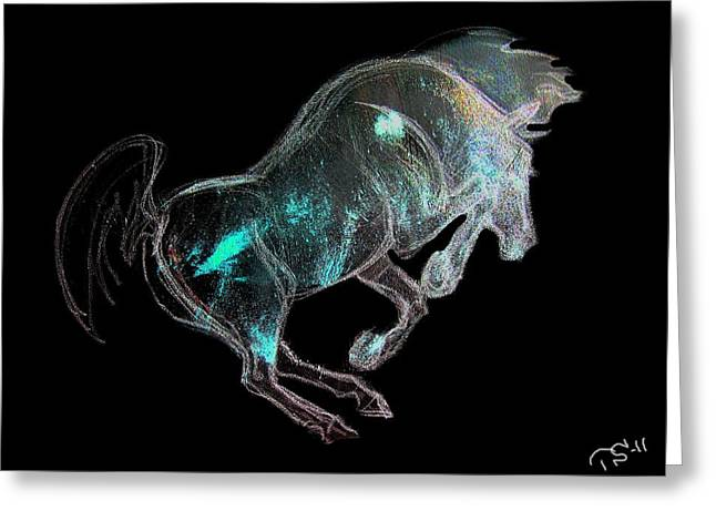 Horse Images Mixed Media Greeting Cards - The Tempest 2 Greeting Card by Tarja Stegars