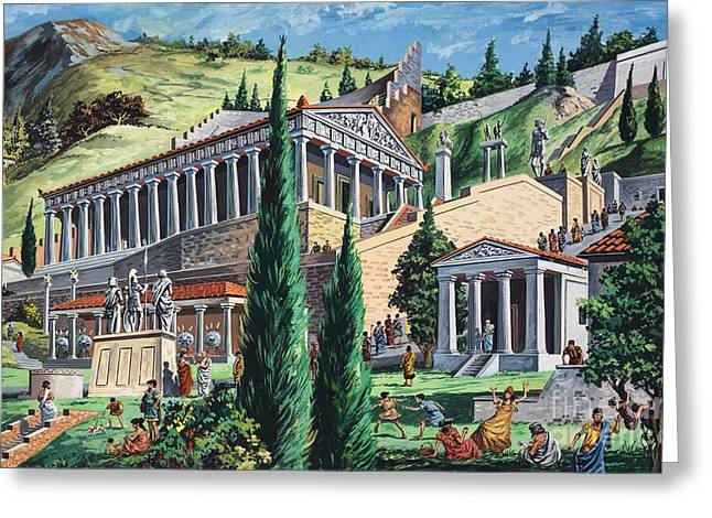 Reconstruction Greeting Cards - The Temple of Apollo at Delphi Greeting Card by Giovanni Ruggero