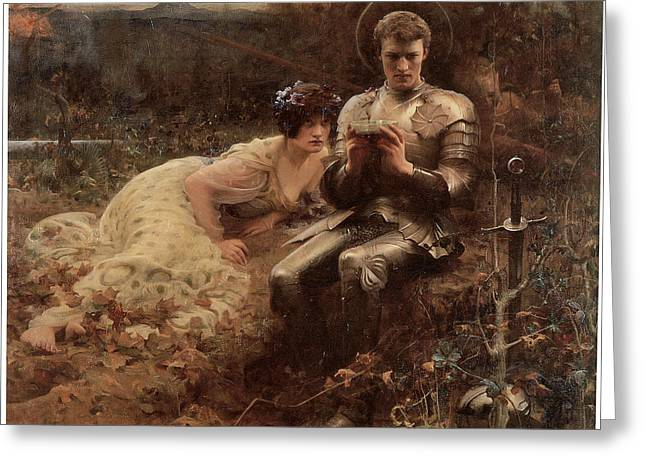 The Temptation Of Sir Percival Greeting Cards - The Temptation of Sir Percival Greeting Card by Arthur Hacker