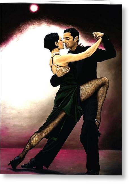 Emotional Art Print Greeting Cards - The Temptation of Tango Greeting Card by Richard Young