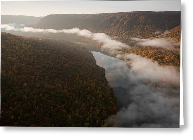 Fissure Greeting Cards - The Tennessee River Cuts Through Signal Greeting Card by Stephen Alvarez