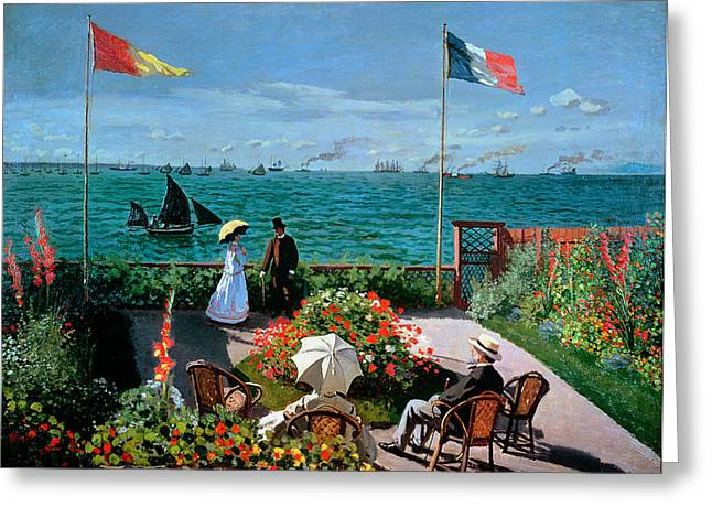 1867 Greeting Cards - The Terrace at Sainte Adresse Greeting Card by Claude Monet