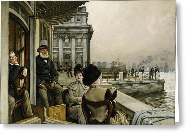 Cigarette Greeting Cards - The Terrace of the Trafalgar Tavern Greenwich Greeting Card by James Jacques Joseph Tissot