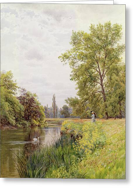 1872 Greeting Cards - The Thames at Purley Greeting Card by William Bradley