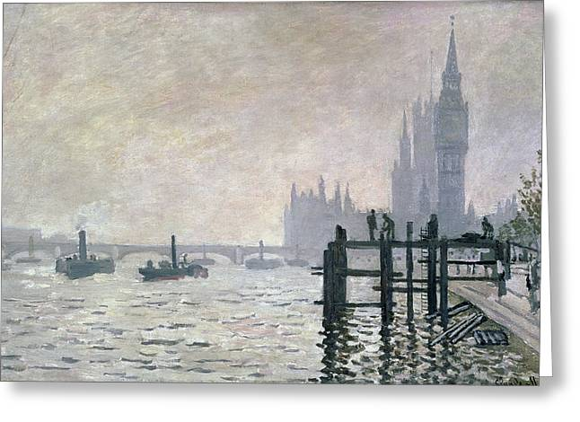 The Houses Greeting Cards - The Thames below Westminster Greeting Card by Claude Monet