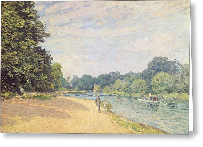 Hamptons Greeting Cards - The Thames with Hampton Church Greeting Card by Alfred Sisley
