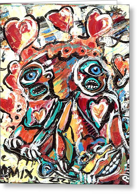 Neo Expressionist Greeting Cards - The Things We Do For Love Greeting Card by Robert Wolverton Jr