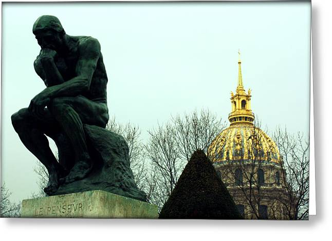 Nudes Sculptures Greeting Cards - The Thinker and The Chapel of Saint Louis des Invalides Greeting Card by Susie Weaver