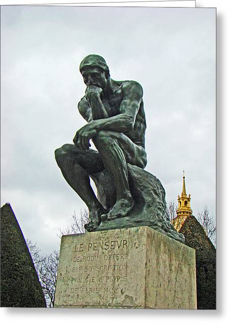 Pondering Greeting Cards - The Thinker by Rodin Greeting Card by Al Bourassa