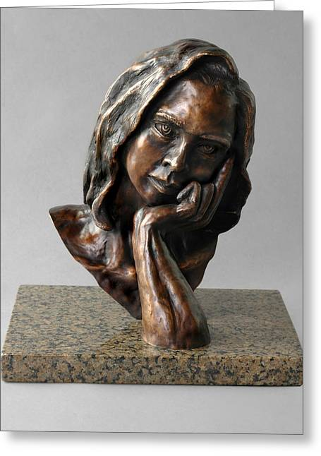 Bust Sculptures Greeting Cards - The Thinker Greeting Card by Eduardo Gomez