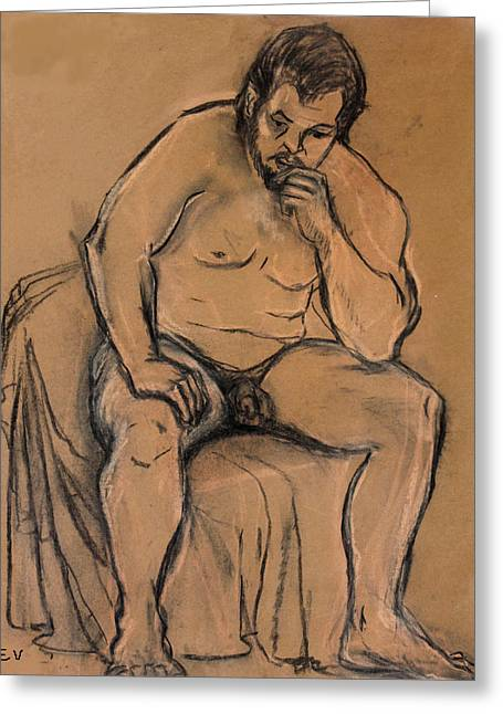 Seated Figure Drawings Greeting Cards - The Thinker Greeting Card by Ethel Vrana