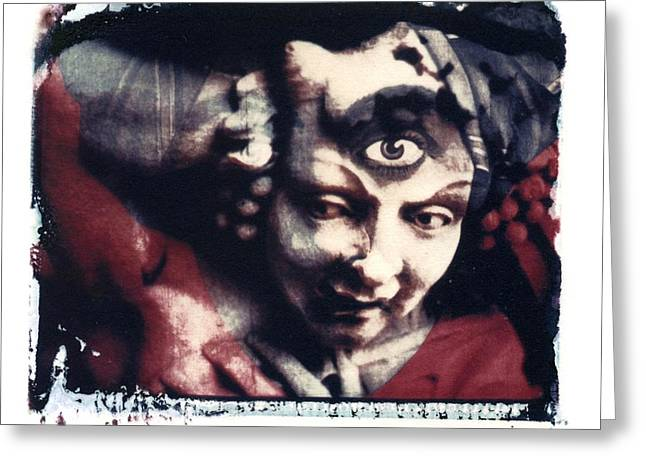 Missouri Photographer Greeting Cards - The Third Eye Polaroid transfer Greeting Card by Jane Linders