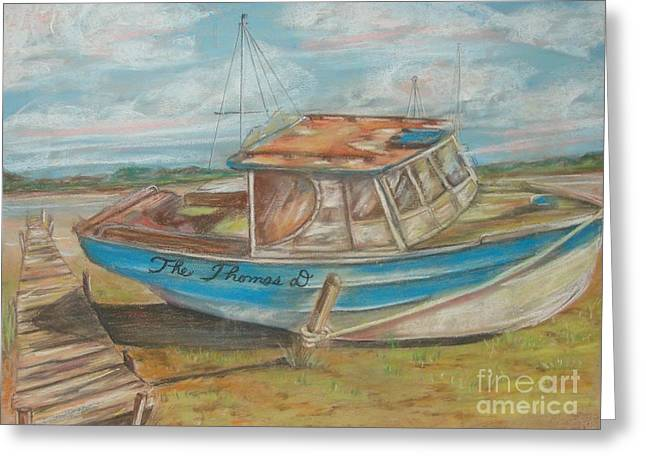 Docked Boats Pastels Greeting Cards - The Thomas D Greeting Card by Sandra Valentini