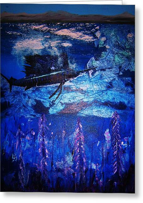 Geographic Mixed Media Greeting Cards - the THREATENED SAILFISH Greeting Card by Brian Moisey