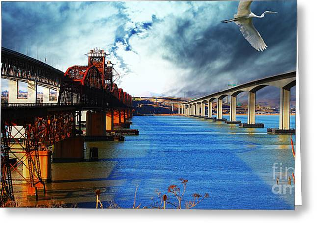 Carquinez Straits Greeting Cards - The Three Benicia-Martinez Bridges . A Journey Through Time Greeting Card by Wingsdomain Art and Photography
