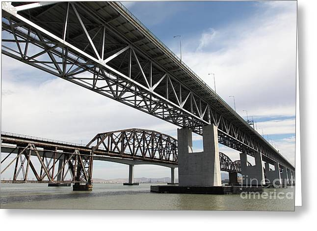 Carquinez Straits Greeting Cards - The Three Benicia-Martinez Bridges in California - 5D18663 Greeting Card by Wingsdomain Art and Photography