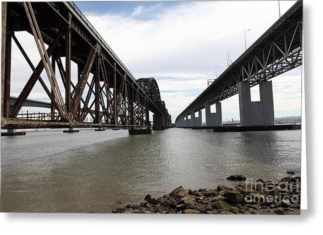 Carquinez Straits Greeting Cards - The Three Benicia-Martinez Bridges in California - 5D18685 Greeting Card by Wingsdomain Art and Photography