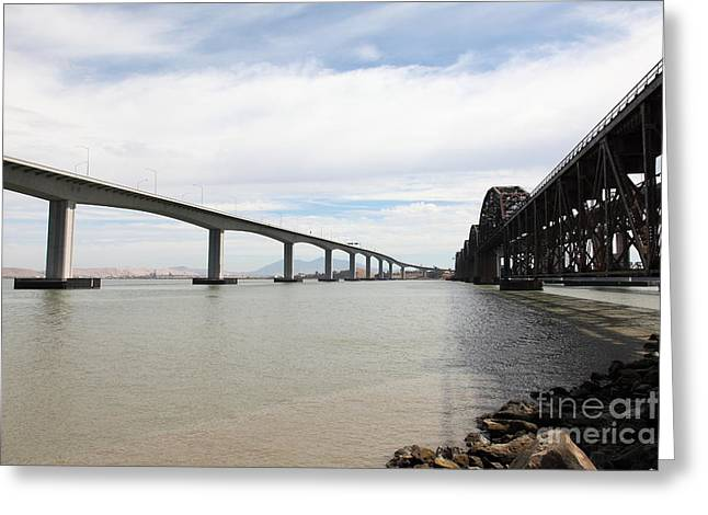 Carquinez Straits Greeting Cards - The Three Benicia-Martinez Bridges in California - 5D18714 Greeting Card by Wingsdomain Art and Photography