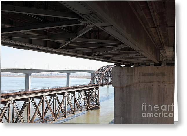 Carquinez Straits Greeting Cards - The Three Benicia-Martinez Bridges in California - 5D18844 Greeting Card by Wingsdomain Art and Photography