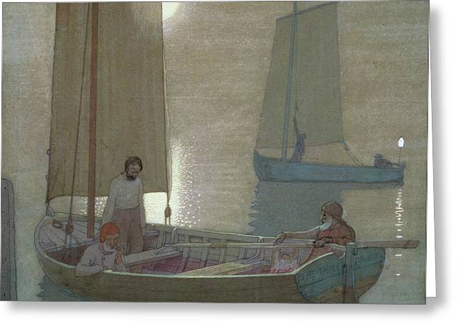Masts Greeting Cards - The Three Brothers Greeting Card by Frederick Cayley Robinson