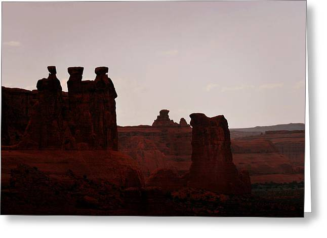 Arts Greeting Cards - The Three Gossips Arches National Park Utah Greeting Card by Christine Till