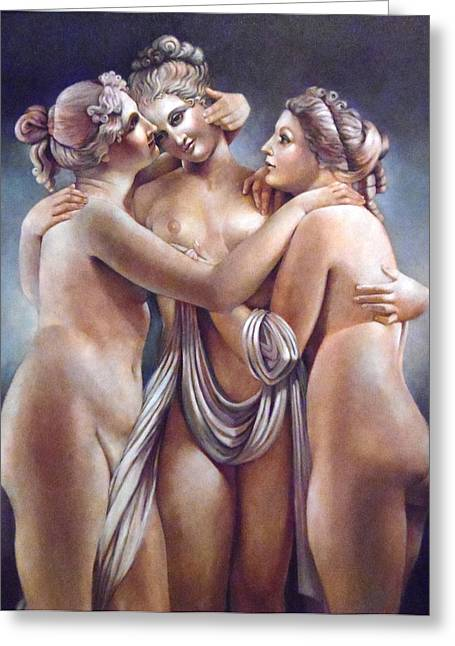 The Three Graces Greeting Card by Geraldine Arata