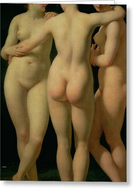 Odalisque Greeting Cards - The Three Graces Greeting Card by Jean Baptiste Regnault