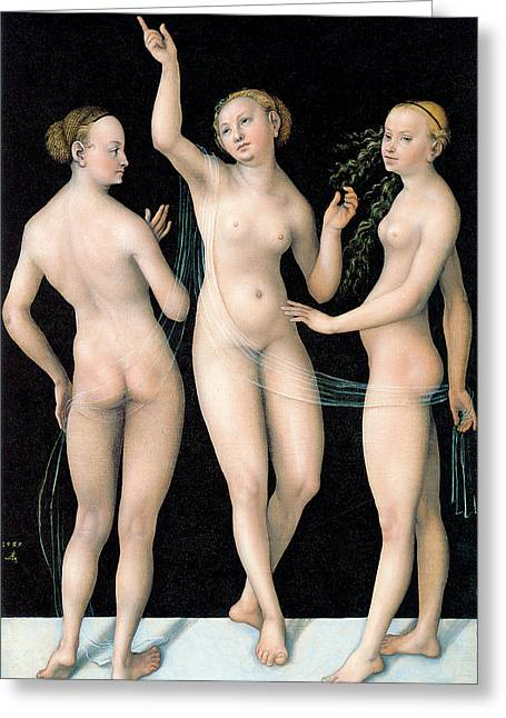 The Three Graces Greeting Card by Lucas Cranach the Elder