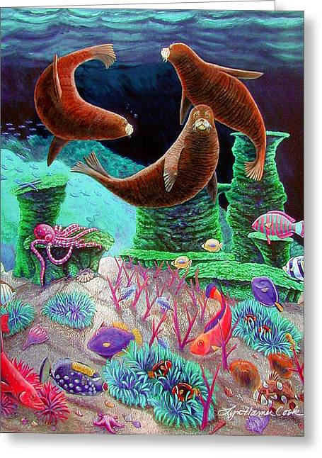 Clown Fish Greeting Cards - The Three Graces Greeting Card by Lyn Cook