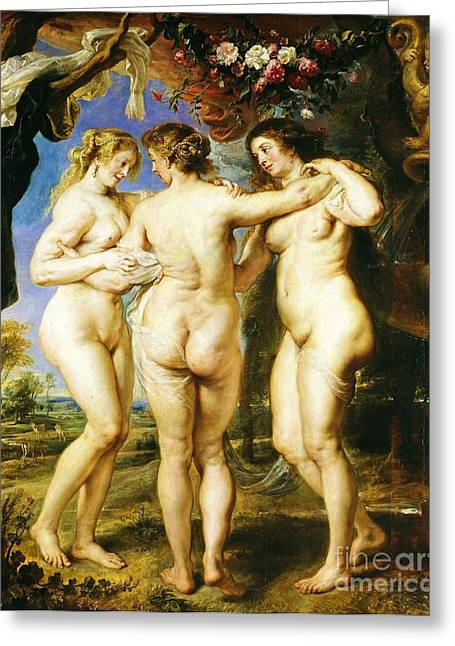 The Three Graces Greeting Card by Pg Reproductions