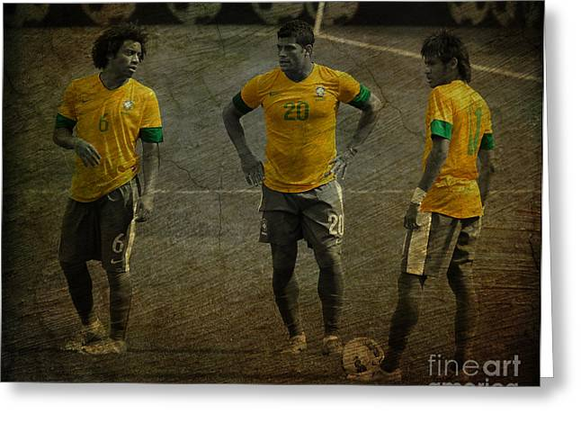Argentinian Football Greeting Cards - The Three Kings Marcelo Hulk Neymar Os Tres Reis  Greeting Card by Lee Dos Santos