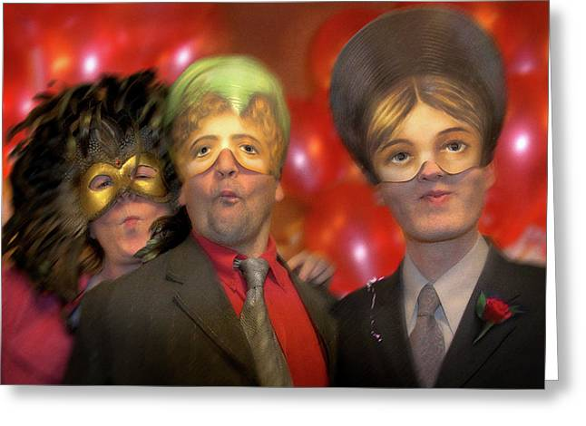 False Expressions Greeting Cards - The Three Masketeers Greeting Card by Richard Piper