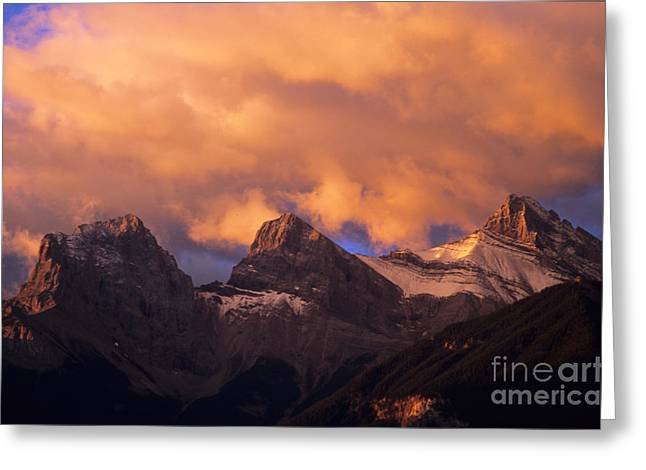 Alberta Foothills Landscape Greeting Cards - The Three Sisters Greeting Card by Bob Christopher