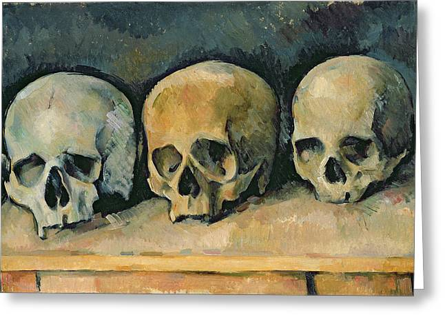 Desks Greeting Cards - The Three Skulls Greeting Card by Paul Cezanne
