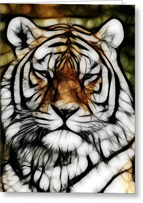 The Tiger Mixed Media Greeting Cards - The Tiger Greeting Card by The DigArtisT