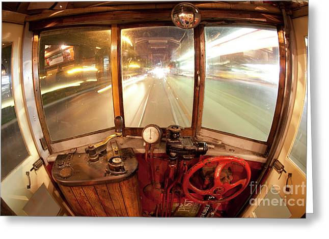 Cable Car Greeting Cards - The Time Machine Greeting Card by Keith Kapple
