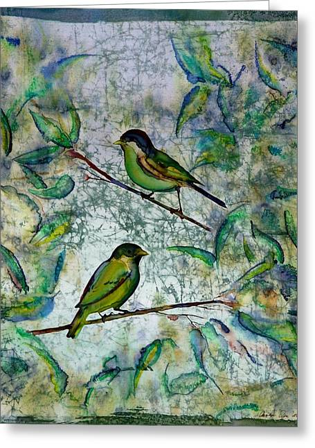 Spring Tapestries - Textiles Greeting Cards - The Time Of Singing Birds Greeting Card by Carolyn Doe