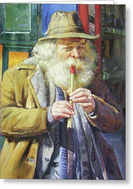 Hobo Greeting Cards - The Tin Whistle Greeting Card by Conor McGuire