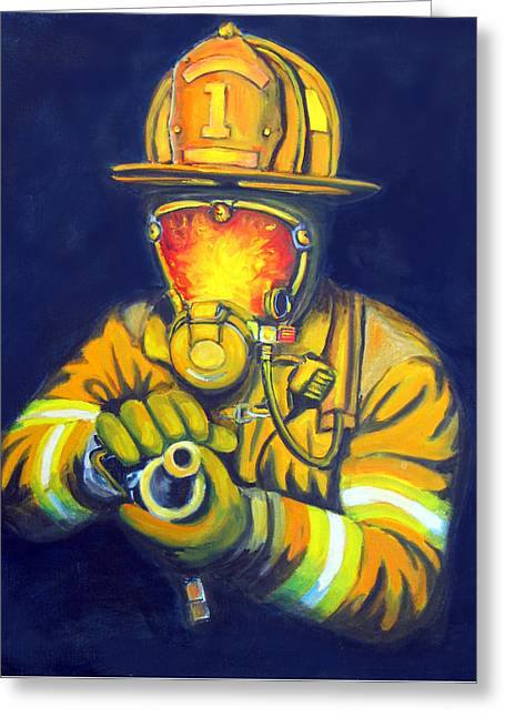 Firefighters Greeting Cards - The Tip Greeting Card by Paul Walsh