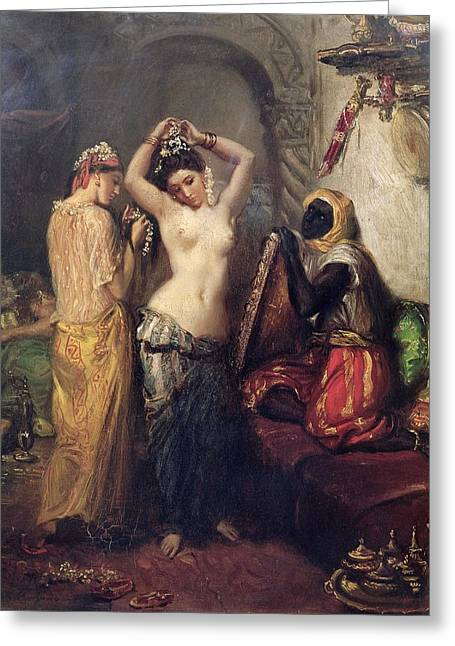 Seraglio Paintings Greeting Cards - The Toilet in the Seraglio Greeting Card by Theodore Chasseriau